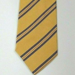 JoS A Bank Gold Blue Red Diagonal Stripe Silk Tie